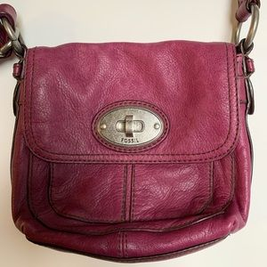 Raspberry leather small Fossil crossbody bag